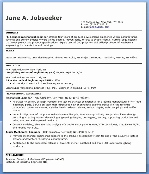 10 Years Experience Resume format Awesome Mechanical Engineering Resume Sample Pdf Experienced