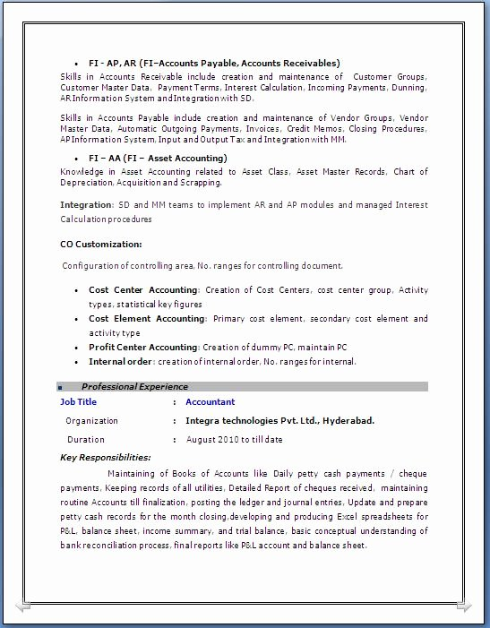 10 Years Experience Resume format Awesome Sap Fico Resume 3 Years Experience
