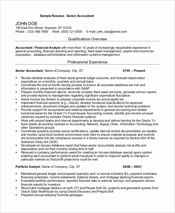 10 Years Experience Resume format Lovely Sample Accountant Resume 14 Examples In Word Pdf
