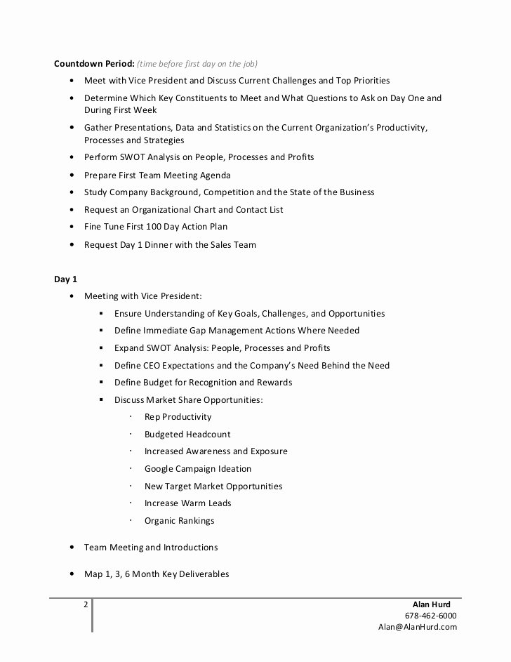 100 Day Plan Example Awesome Alan Hurd Strategic 100 Day Action Plan Example
