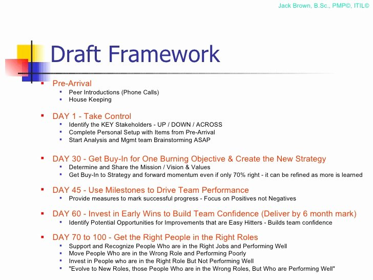 100 Day Plan Example Fresh 100 Day Plan for Directing A Pmo