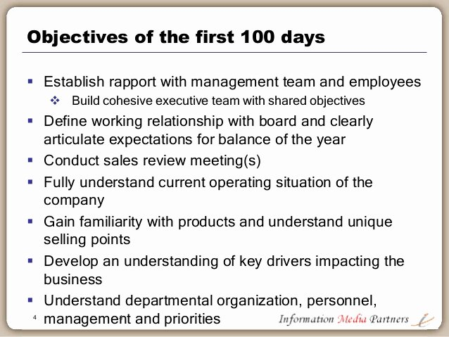 100 Day Plan Example New the First 100 Days A Planning Framework for the Ceo