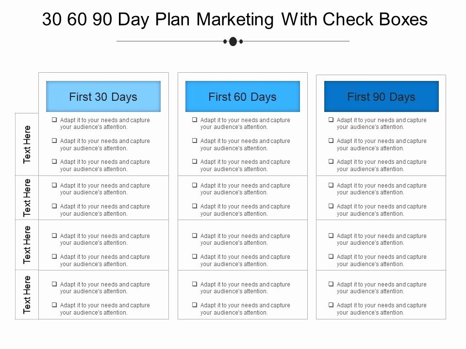 100 Day Plan New Job Best Of 30 60 90 Day Plan Marketing with Check Boxes Example