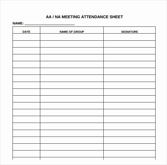12 Step Meeting attendance Sheet Beautiful Free 18 attendance Sheet Templates In Pdf Word
