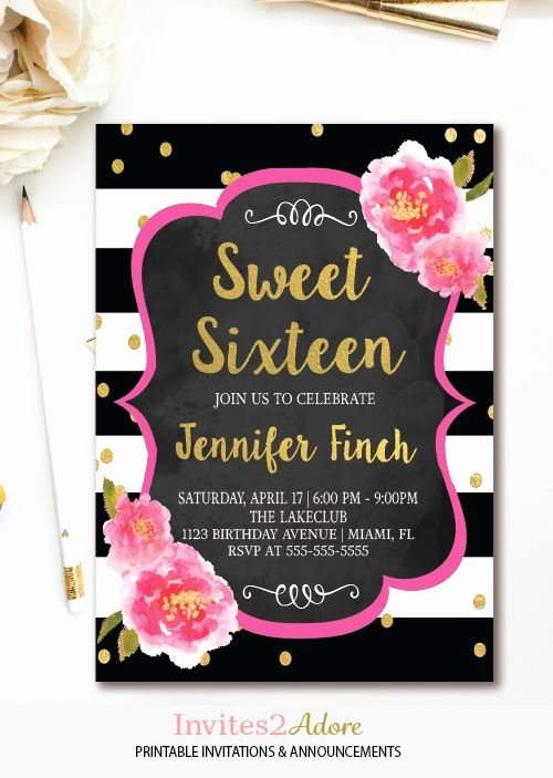 16th Birthday Invitation Templates Free Awesome Floral Sweet 16 Invitation Black & White Stripe Sweet