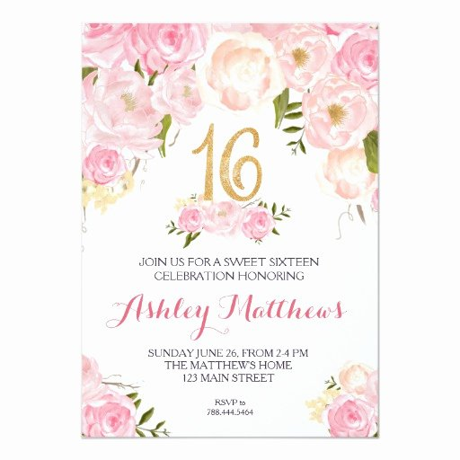16th Birthday Invitation Templates Free Awesome Sweet Sixteen 16 Birthday Floral Invitation Card