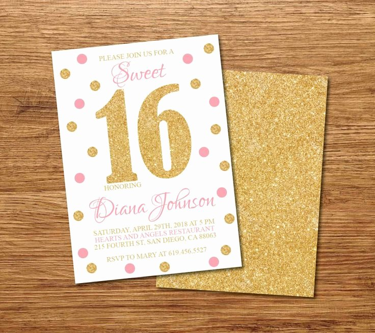 16th Birthday Invitation Templates Free Beautiful 16th Birthday Invitation Printable Gold White & Pink