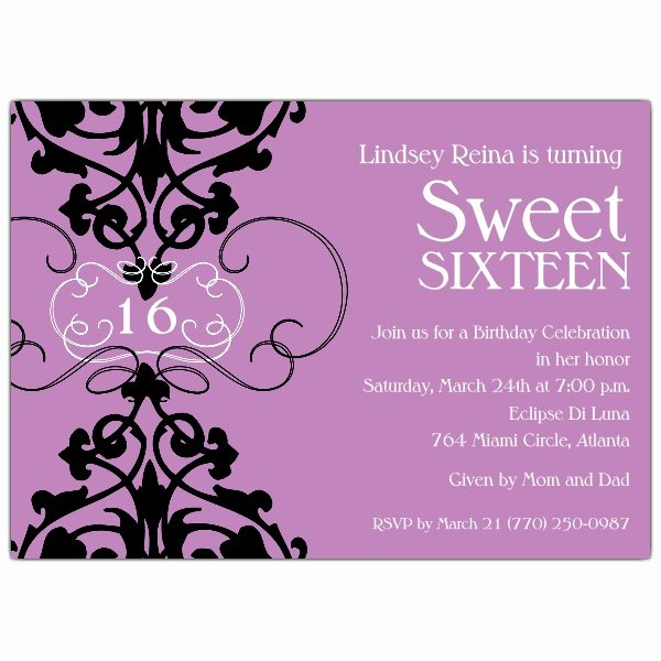 16th Birthday Invitation Templates Free Best Of Fleur Lavender Sweet 16 Invitations