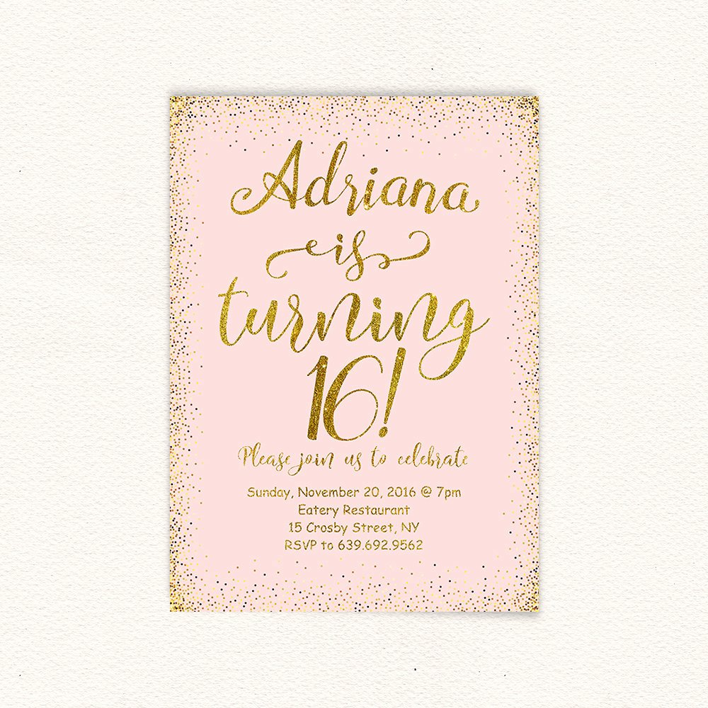 16th Birthday Invitation Templates Free Inspirational 16th Birthday Gold Glitter Sweet 16 Birthday Invitation