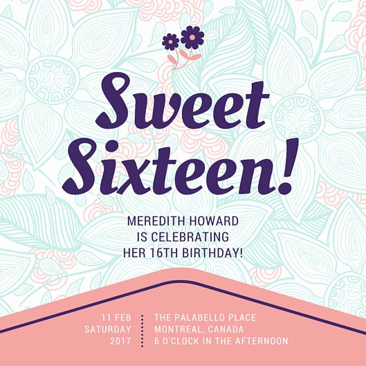 16th Birthday Invitation Templates Free Luxury Customize 545 Sweet 16 Invitation Templates Online Canva