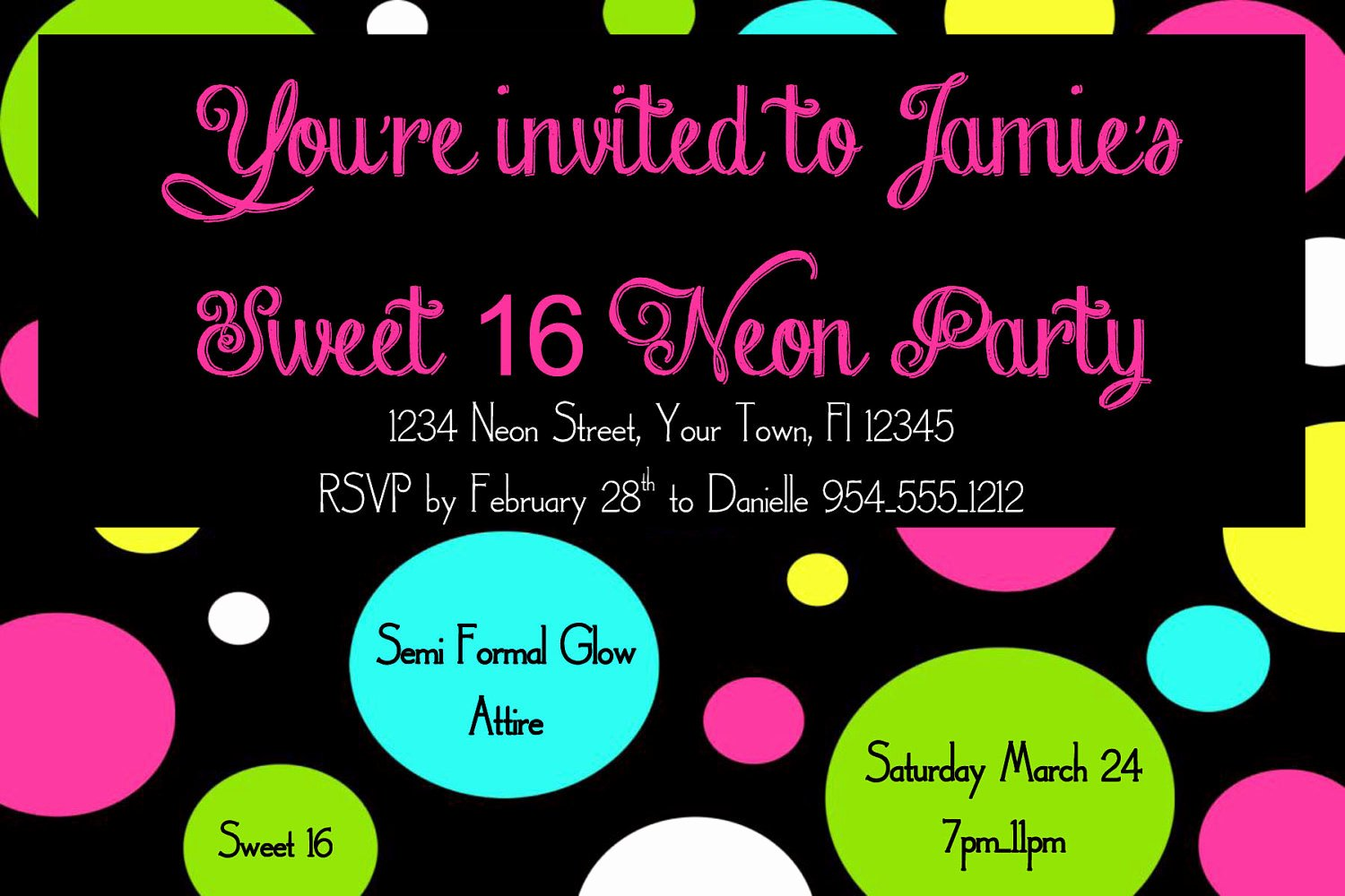 16th Birthday Invitation Templates Free Unique Neon Sweet 16 Birthday Invitation Template 4x6