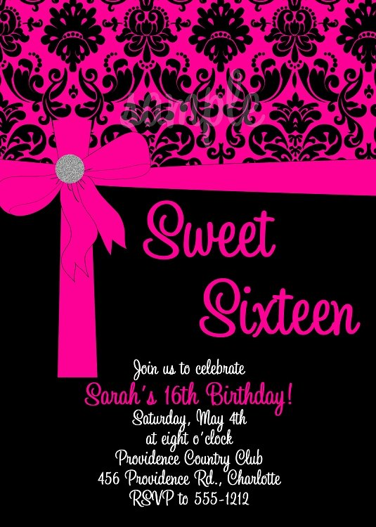 16th Birthday Invitation Templates Free Unique Pink & Black Sweet 16 Birthday Invitations Quinceanera