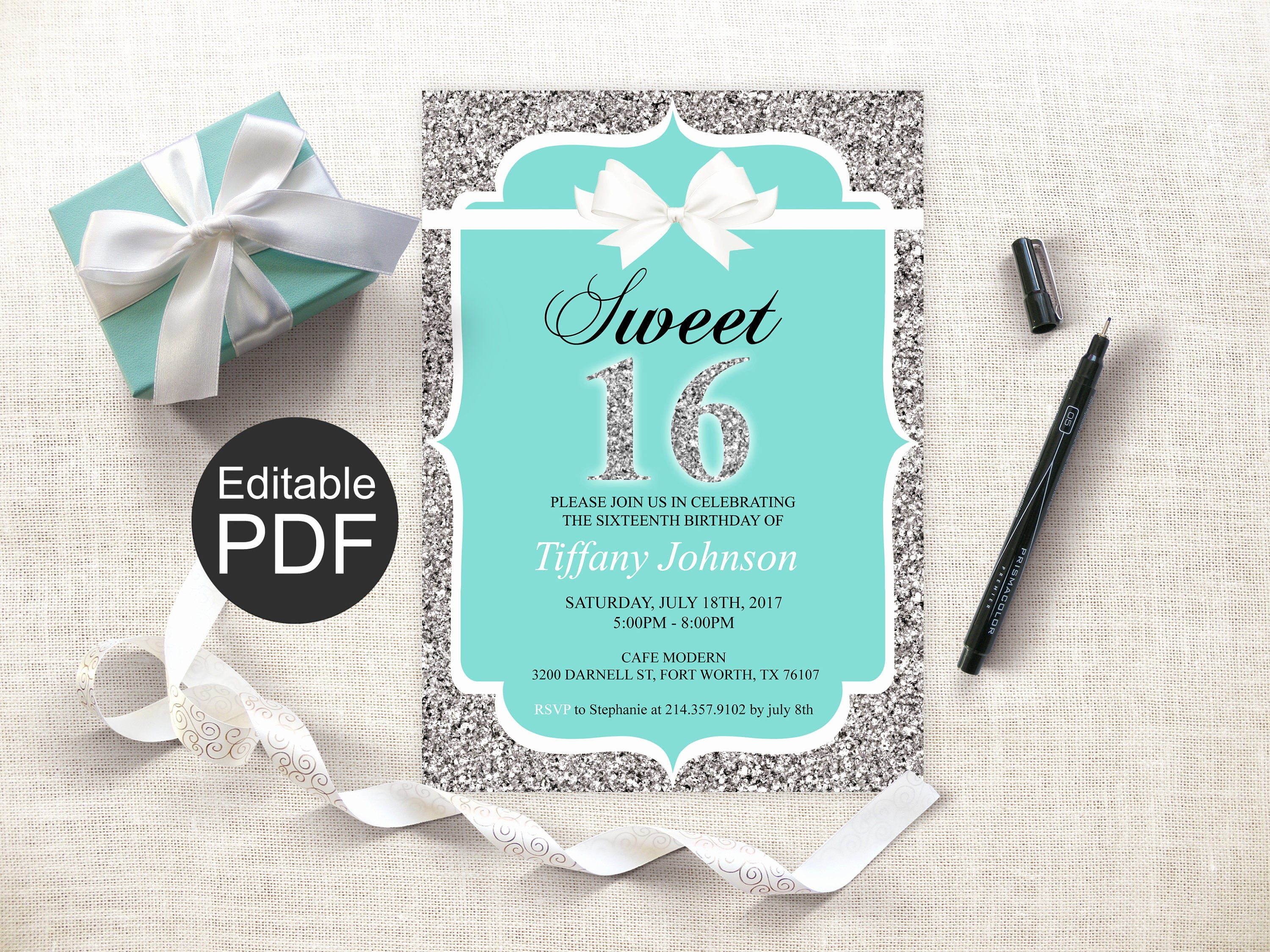 16th Birthday Invitation Templates Free Unique Sweet 16 Invitation Template Blue Sweet Sixteen Invites