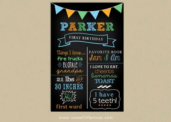 1st Birthday Chalkboard Sign Template Awesome First Birthday Chalkboard Template Chalkboard by