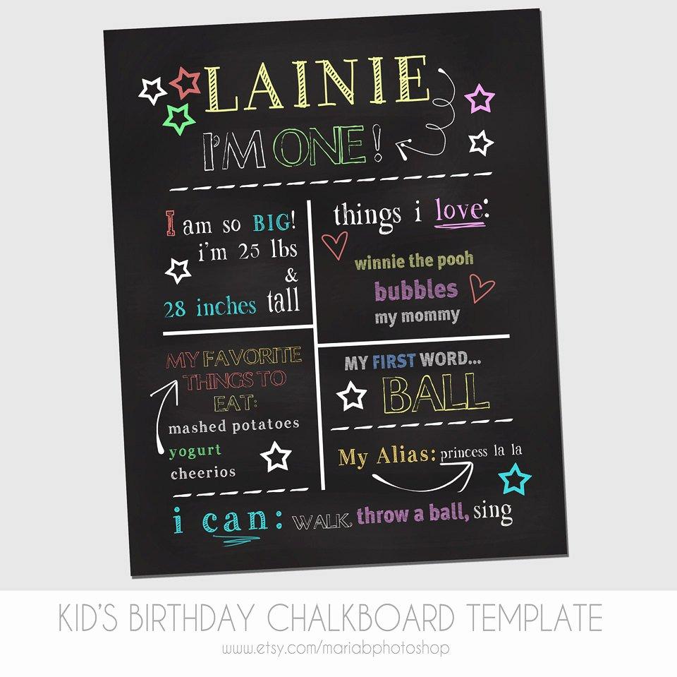1st Birthday Chalkboard Sign Template Elegant Child S First Birthday Chalkboard Template Marketing