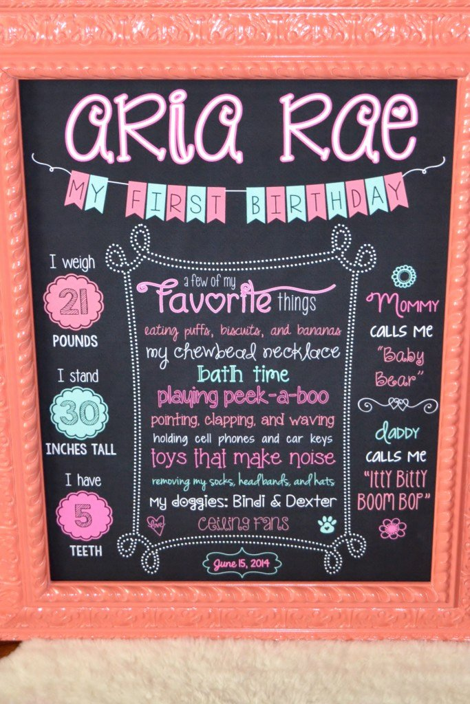 1st Birthday Chalkboard Sign Template New Aria S 1st Birthday Party Project Nursery