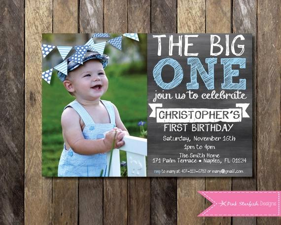 1st Birthday Chalkboard Template Beautiful Chalkboard First Birthday Invitation with Picture the Big