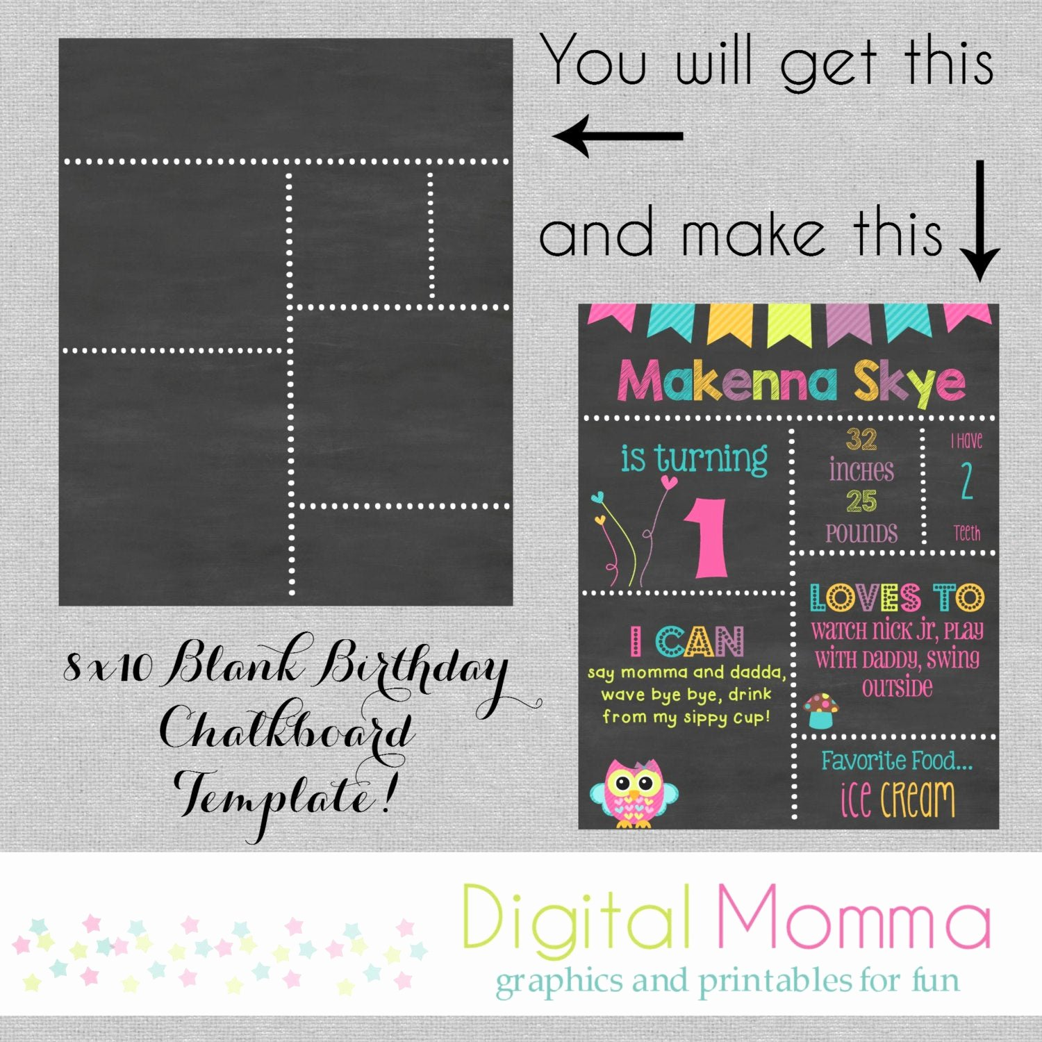 1st Birthday Chalkboard Template Best Of Printable Diy Blank Birthday Chalkboard Template by