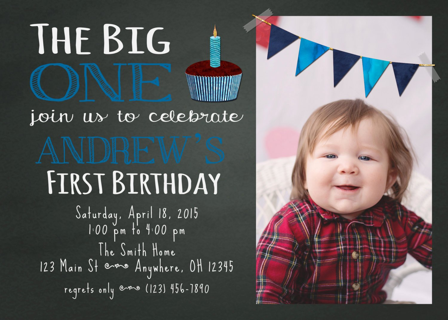 1st Birthday Chalkboard Template Elegant Chalkboard First Birthday Invitation Template by