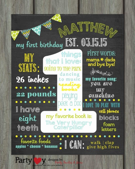 1st Birthday Chalkboard Template Elegant Items Similar to First Birthday Chalkboard Poster First