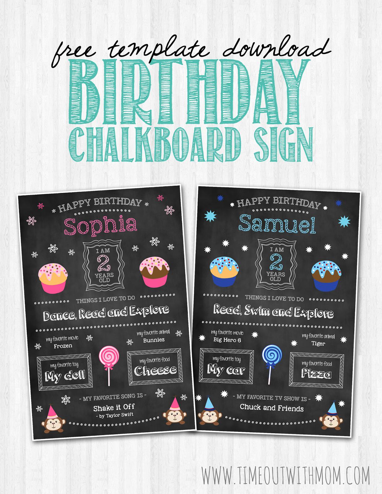 1st Birthday Chalkboard Template Lovely Birthday Chalkboard Sign Template and Tutorial