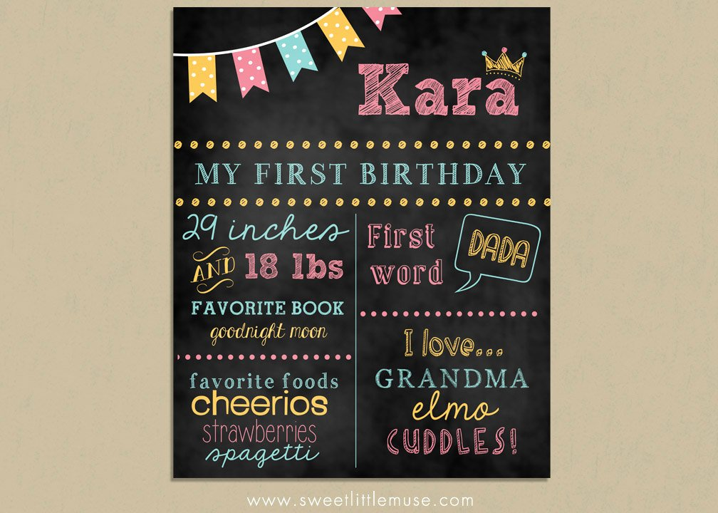 1st Birthday Chalkboard Template New First Birthday Chalkboard Template Chalkboard by