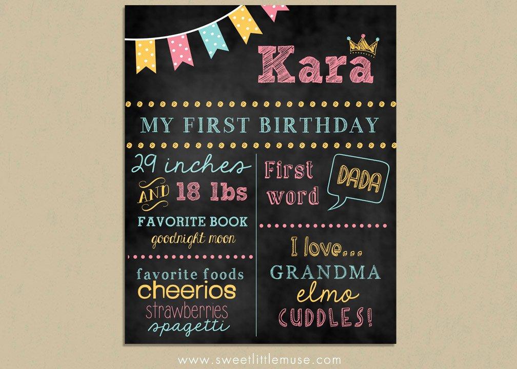 1st Birthday Chalkboard Template New First Birthday Chalkboard Template Chalkboard by