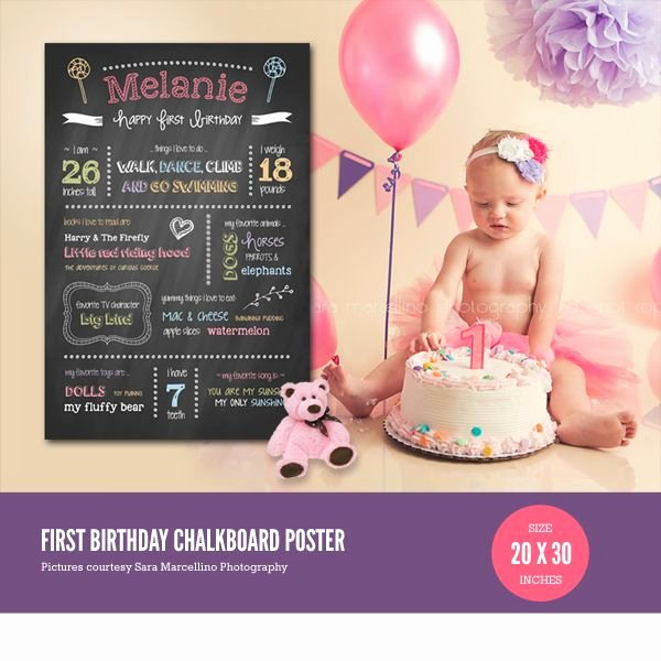 1st Birthday Chalkboard Template Unique First Birthday Chalkboard Poster Template Baby