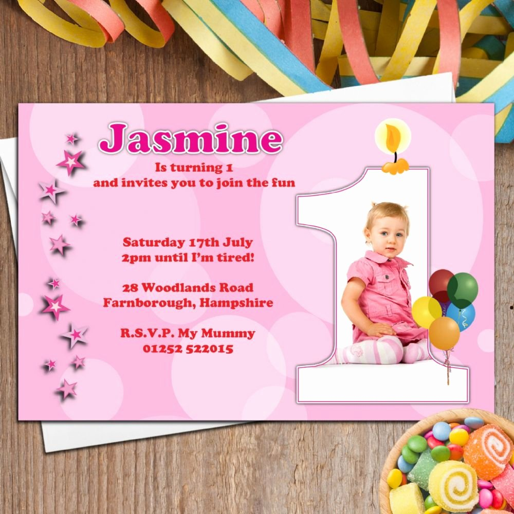 1st Birthday Invitation Wording Samples Awesome 10 Personalised Girls First 1st Birthday Party Photo