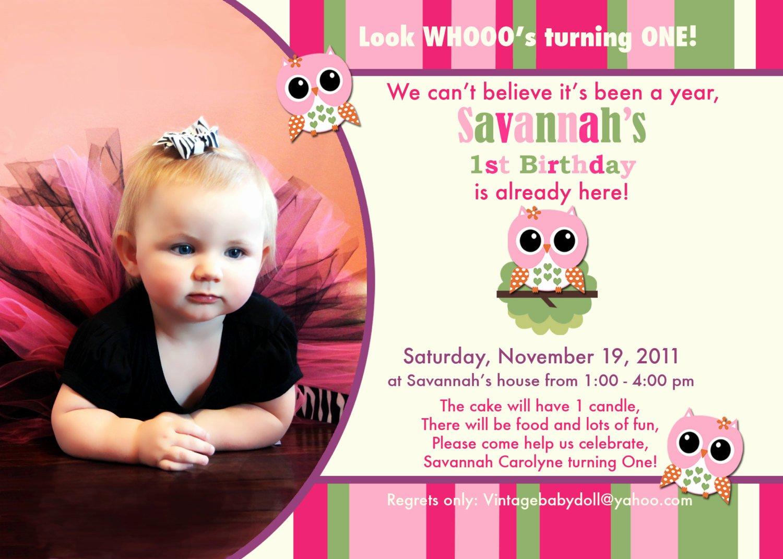 1st Birthday Invitation Wording Samples Best Of Owl 1st Birthday Invitations Ideas – Free Printable
