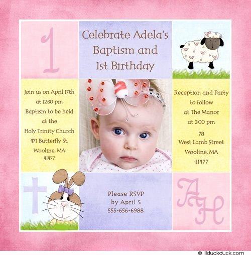 1st Birthday Invitation Wording Samples Fresh 1st Birthday and Christening Baptism Invitation Sample