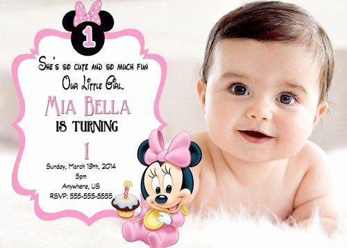 1st Birthday Invitation Wording Samples Fresh Free Printable Minnie Mouse 1st Birthday Invitations