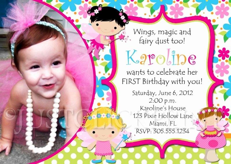 1st Birthday Invitation Wording Samples Inspirational Fairy Birthday Invitations