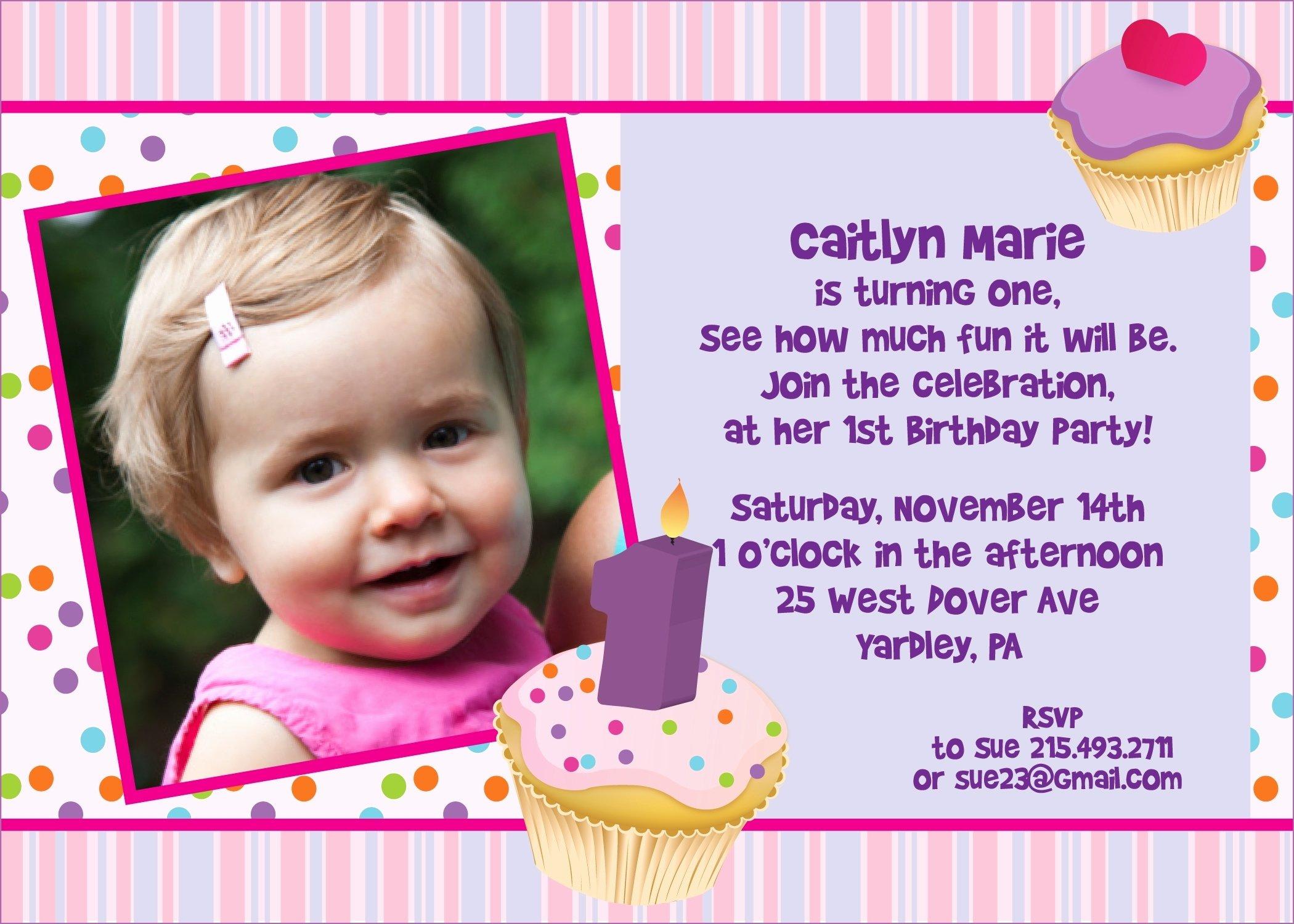 1st Birthday Invitation Wording Samples Lovely Sample Invitation for 1st Birthday Party Cobypic