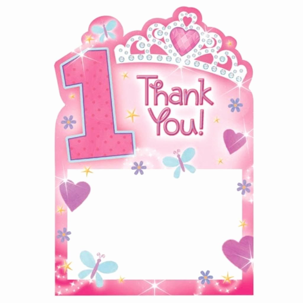 1st Birthday Thank You Awesome 20 Girl S Pink 1st Birthday Princess Thank You Cards