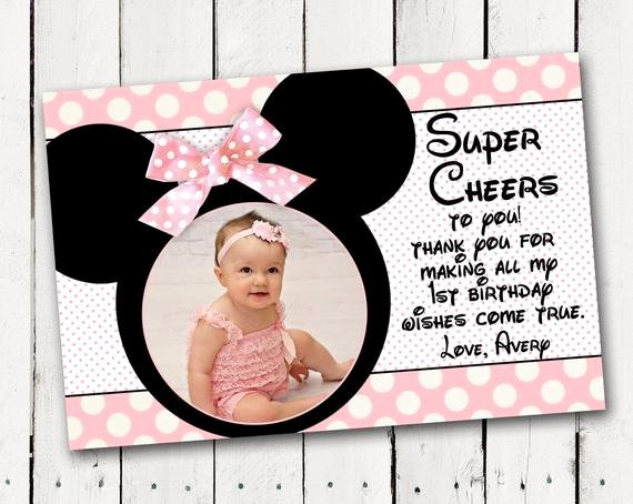 1st Birthday Thank You Awesome Baby Minnie Mouse 1st Birthday Thank You Card