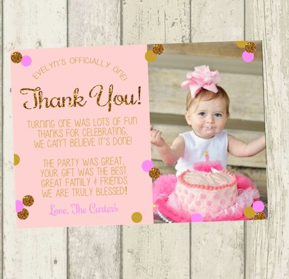 1st Birthday Thank You Awesome First Birthday Thank You Card Pink & Gold by