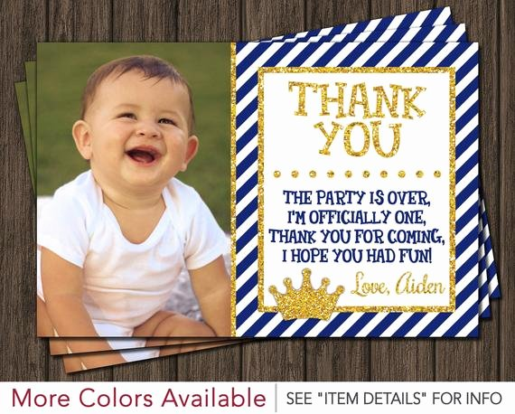 1st Birthday Thank You Awesome Prince Thank You Card Royal Blue First Birthday Thank You