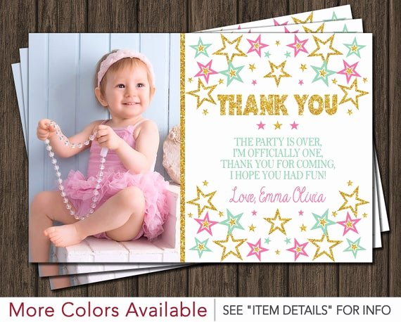 1st Birthday Thank You Awesome Twinkle Twinkle Little Star Thank You Card First Birthday