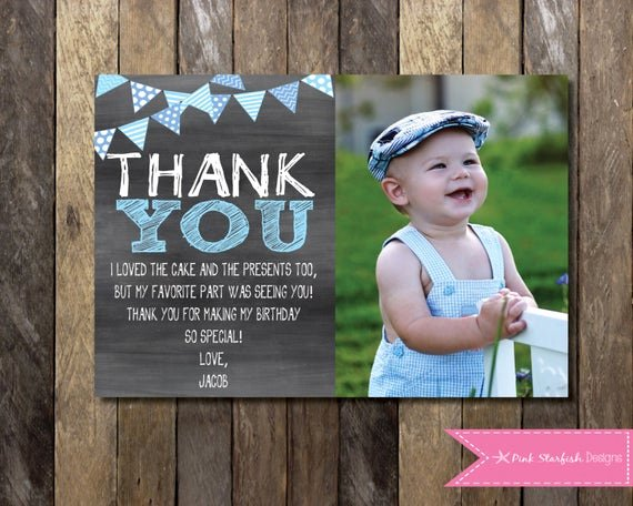 1st Birthday Thank You Beautiful Chalkboard Thank You Card with Picture Chalkboard Thank You