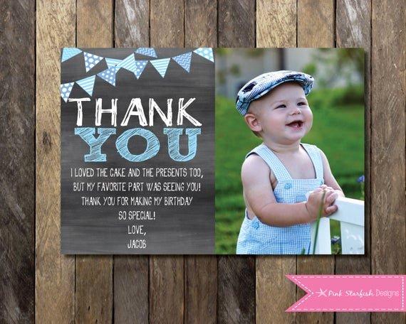 1st Birthday Thank You Beautiful Chalkboard Thank You Card with Picture Chalkboard Thank You