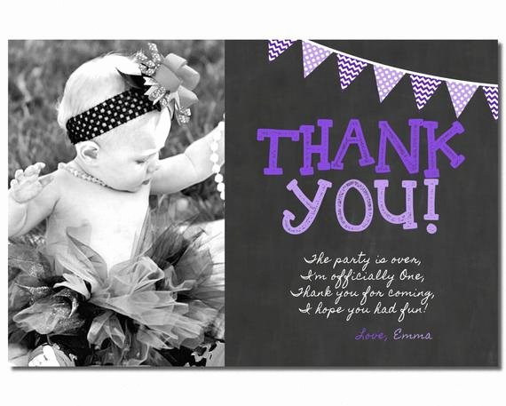 1st Birthday Thank You Beautiful First Birthday Thank You Card 1st Birthday by Puggyprints