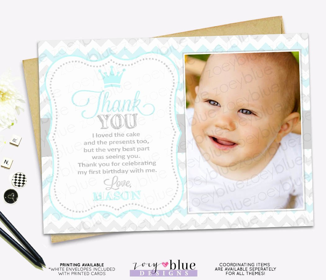 1st Birthday Thank You Beautiful Prince Birthday Thank You Card 1st Boy First Birthday Light