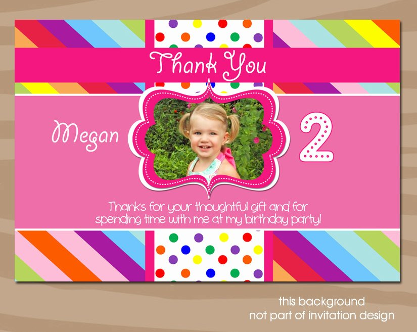 1st Birthday Thank You Best Of Items Similar to Rainbow Thank You Card Colorful