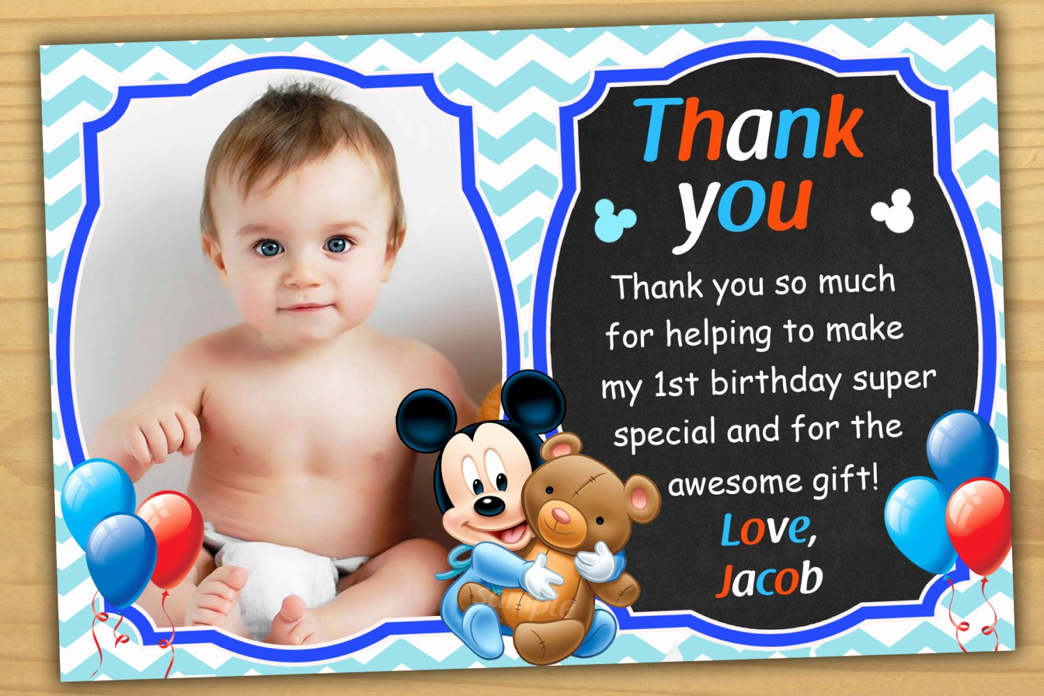 1st Birthday Thank You Best Of Mickey Mouse 1st Birthday Thank You Card Mickey Mouse Baby