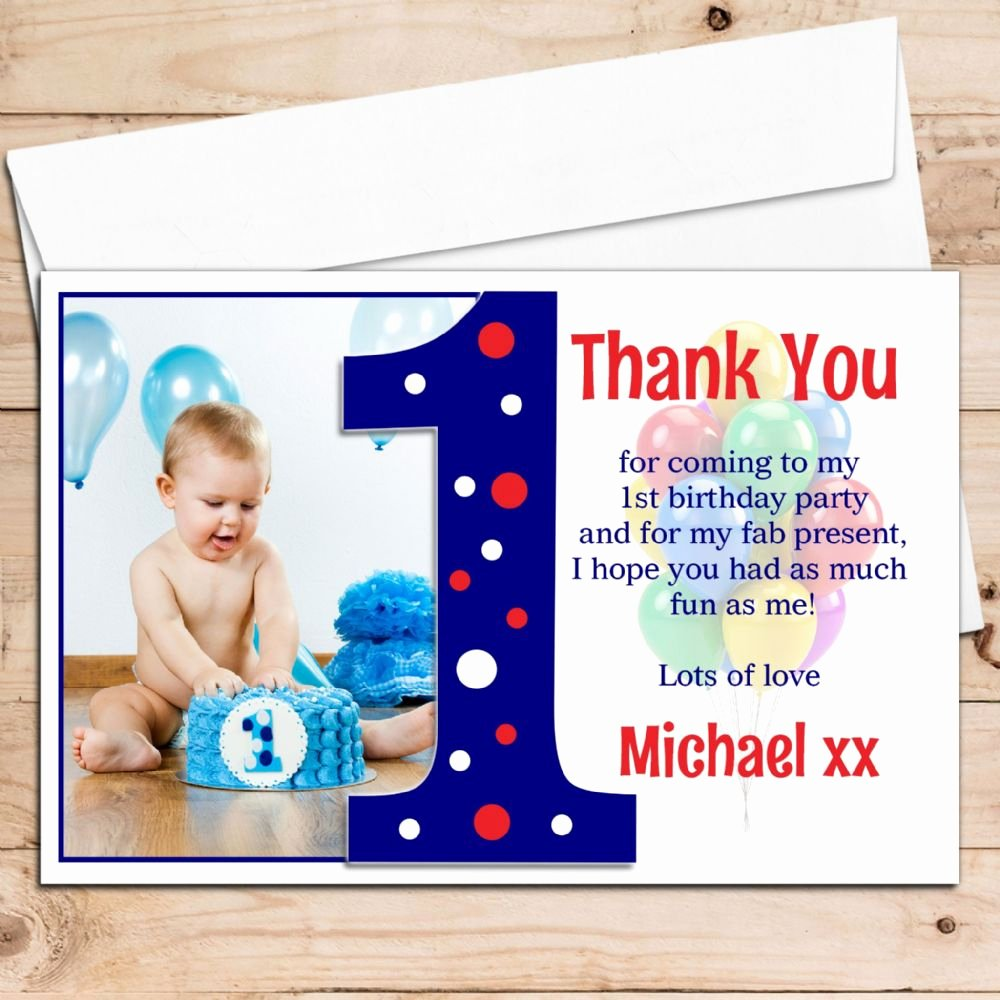 1st Birthday Thank You Elegant 10 Personalised Boys First 1st Birthday Thank You Photo