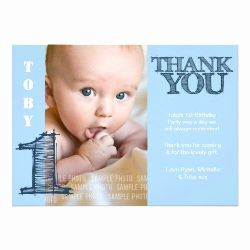 "1st Birthday Thank You Fresh Baby Boy Blue 1st Birthday Thank You Card 5"" X 7"