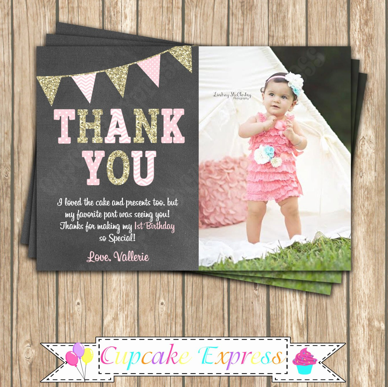 1st Birthday Thank You Fresh E First Birthday Girl Coral Pink Gold Printable Thank