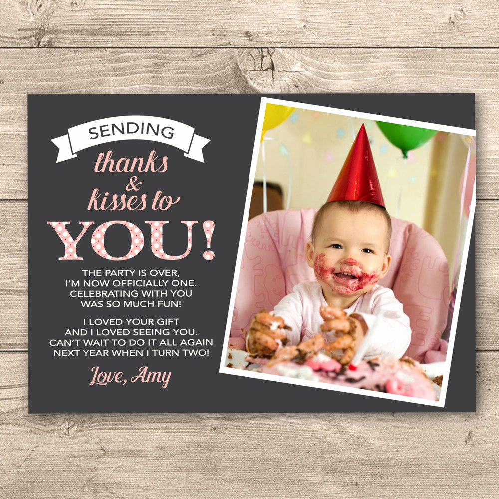 1st Birthday Thank You Fresh Girls 1st Birthday Thank You Card Digital by Inkandcarddesigns