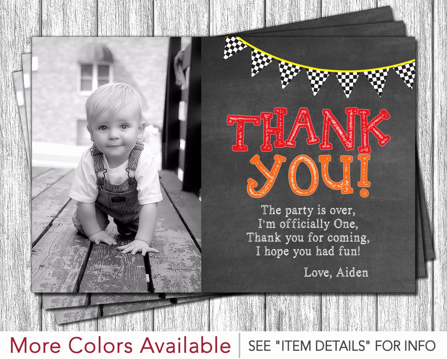 1st Birthday Thank You Fresh Race Car First Birthday Thank You Card Monster Truck 1st